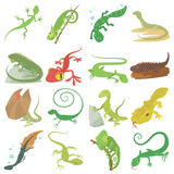 Lizard type animals icons set, cartoon style. Lizard type animals icons set. Cartoon illustration of 16 lizard type animals vector icons for web Stock Illustration