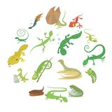 Lizard type animals icons set, cartoon style. Lizard type animals icons set. Cartoon illustration of 16 lizard type animals icons for web Vector Illustration