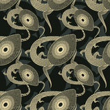 Lizards. Abstract decorative textured lizards. Seamless pattern. Illustration. Vector Stock Photo