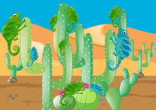 Lizards and cactus in the desert. Illustration Royalty Free Stock Photo