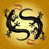 Lizards dance. Illustration with two lizards dancing on a top of the dune drawn in cartoon style Royalty Free Stock Photo