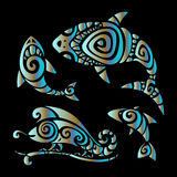 Lizards. Polynesian tattoo style Stock Photography
