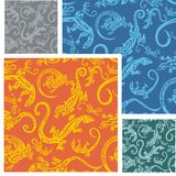 Lizards - seamless pattern set. Stock Image