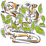 Lizards. Three lizards in green leaves Stock Image
