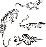 Lizards in tribal style Royalty Free Stock Photos