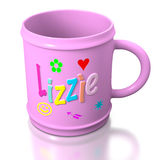 Lizzie personalized plastic mug Stock Images