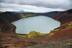 Ljotipollur krateru powulkaniczny jezioro Obraz Stock