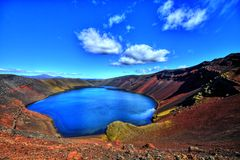 Ljotipollur lake in HDR, Iceland Royalty Free Stock Photography