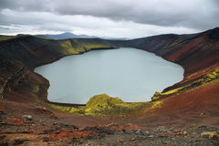 Ljotipollur volcanic crater lake Stock Image