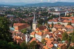 Ljualjana全景鸟瞰图,斯洛文尼亚的首都 库存图片