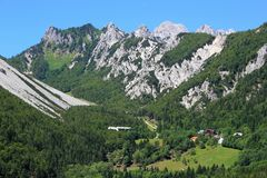 Ljubelj Durchlauf, Alpen, Slowenien Stockbilder