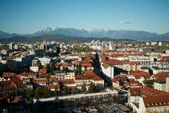 Ljubjana huvudstaden av Slovenien royaltyfri fotografi