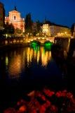 Ljubljana. Capital city of Slovenia - Ljubljana by night stock images