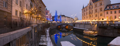 Ljubljana. City decorated for christmas at dusk Royalty Free Stock Photos