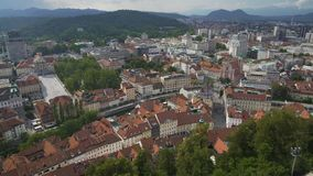 Ljubljana aerial view, trip to economic and cultural center of Slovenia, tourism. Stock footage stock video