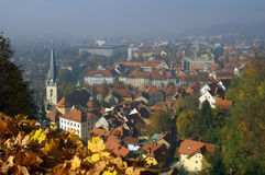 Ljubljana during autumn - view from Castle hill stock photography