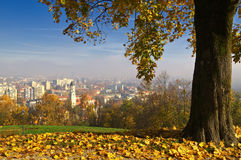 Ljubljana during autumn - view from Castle hill stock photos