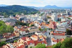 Ljubljana bij zonsondergang Royalty-vrije Stock Foto's