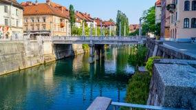 Ljubljana brzeg rzeki Zdjęcia Royalty Free