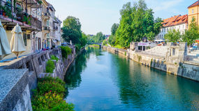 Ljubljana brzeg rzeki 4 Zdjęcia Stock