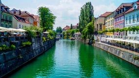 Ljubljana brzeg rzeki 7 Obraz Stock