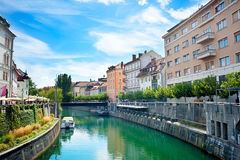 Ljubljana canal Royalty Free Stock Photos