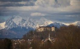 Ljubljana castle, alps, Slovenia Royalty Free Stock Images