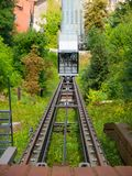 Ljubljana Castle funicular. Funicular railway to the hill where is Ljubljana Castle, Slovenia Royalty Free Stock Images