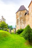Ljubljana castle. The historic medieval building with park around. Old Slovenia fortress in the center of Slovenia capital city stock photography