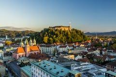 Ljubljana castle. View of Ljubljana castle in sunset stock photography