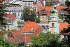 Ljubljana center - cathedral and central market, Slovenia. Ljubljana historic center - Saint Nicholas cathedral and Central Market area, Slovenia Stock Photography