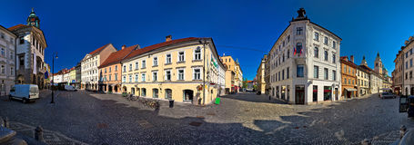 Ljubljana central square panoramic view. Capital of Slovenia royalty free stock images