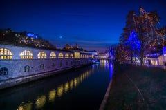 Ljubljana in christmas decoration Royalty Free Stock Photo