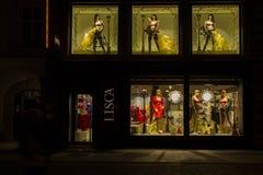 Ljubljana at Christmas time. Ljubljana, Slovenia - December 17, 2014: Night view of shop window in Ljubljana at Christmas time Royalty Free Stock Photos