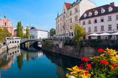 Ljubljana city center. And river Ljubljanica by day Stock Photography
