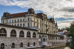 Ljubljana city center buildings stock photo