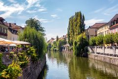 Ljubljana city center with canals and waterfront in Slovenia stock images