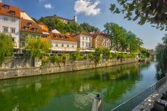 Ljubljana city center with river Ljubljanica. During summer, Europe, Slovenia stock photos