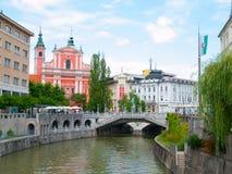 Ljubljana city center and river Ljubljanica Stock Photography