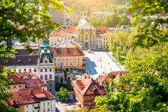 Ljubljana city in Slovenia. Aerial cityscape view with Ursuline church of the Holy Trinity in Ljubljana Stock Image