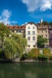 Ljubljana city view with Ljublianica river, Slovenia Royalty Free Stock Photos