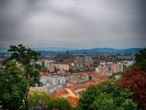 Ljubljana city. View of Ljubljana. Photographed from the old town in Ljubljana Stock Photos