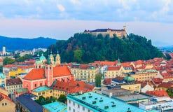 Ljubljana cityscape royaltyfria bilder