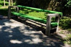 Ljubljana concrete bench from old Yugoslavian times. A concrete bench from old Yugoslavian times in Ljubljana, Slovenia Royalty Free Stock Photography