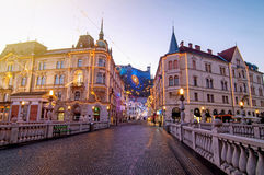 Ljubljana, decorated for Christmas and New Year celebration. Ljubljana, decorated for Christmas and New Years celebration royalty free stock photography
