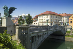 Ljubljana Dragon Bridge Stock Photography