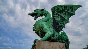 Ljubljana The Dragon Bridge stock image