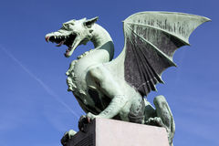 Ljubljana Dragon on Dragon Bridge Royalty Free Stock Photo