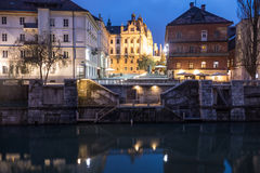 Ljubljana at dusk Stock Image