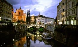 Ljubljana em a noite Imagens de Stock Royalty Free